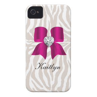 Zebra Pattern with Cute Fashion Jewelry Bow Case-Mate iPhone 4 Case