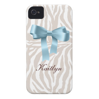 Zebra Pattern with Cute Fashion Satin Bow iPhone 4 Case-Mate Case