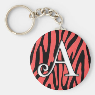 Zebra pattern with letter A Keychain