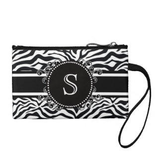 Zebra Pattern with Monogram Cool and Bold Coin Wallets