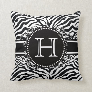 Zebra Pattern with Monogram Cool and Bold Throw Pillow