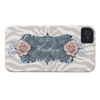 Zebra Pattern with Vintage Rose Flower Frame iPhone 4 Covers