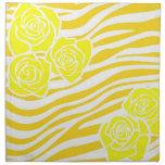 Zebra pattern + yellow roses cloth napkin