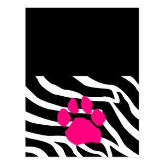 Zebra Paw Print Postcard