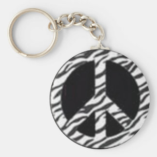zebra peace key chain