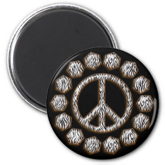 ZEBRA PEACE SIGN 2 INCH ROUND MAGNET