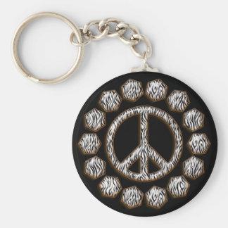 ZEBRA PEACE SIGN BASIC ROUND BUTTON KEYCHAIN