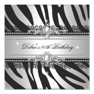 Zebra Pearl Black Silver White 40th Birthday Party Card