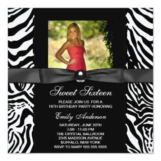 Zebra Photo Sweet 16 Party Card