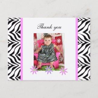 Zebra: Picture: Thank You Postcard