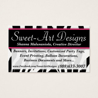 Zebra Pink and Black Business Card Template
