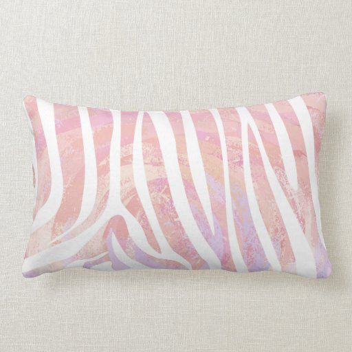 Zebra Pink and White Print Throw Pillow