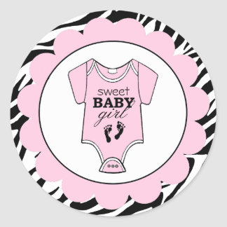 Zebra Pink Baby Outfit Baby Shower Classic Round Sticker