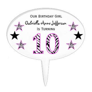 Zebra Pink & Black 10th Birthday Party Cake Topper
