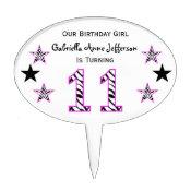 Zebra Pink & Black:11th Birthday Party Cake Topper