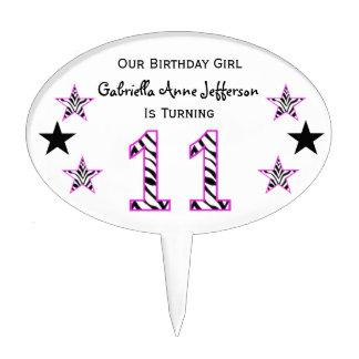 Zebra Pink Black 11th Birthday Party Cake Topper