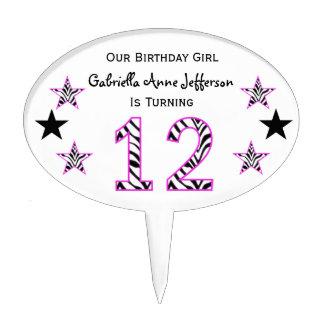 Zebra Pink Black 12th Birthday Party Cake Topper
