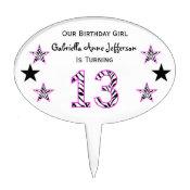 Zebra Pink & Black:13th Birthday Party Cake Topper