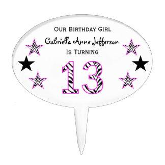 Zebra Pink Black 13th Birthday Party Cake Topper