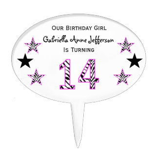 Zebra Pink Black 14th Birthday Party Cake Topper