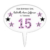 Zebra Pink & Black:15th Birthday Party Cake Topper