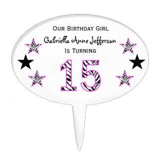 Zebra Pink Black 15th Birthday Party Cake Topper