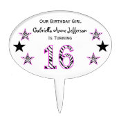 Zebra Pink & Black:16th Birthday Party Cake Topper