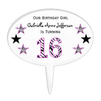 Zebra Pink Black 16th Birthday Party Cake Topper