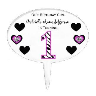 Zebra Pink & Black: 1st Birthday Party Cake Topper