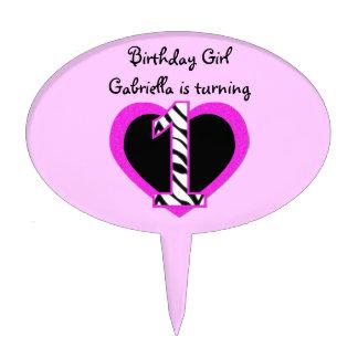 Zebra Pink Black 1st Birthday Party Cake Topper