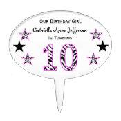 Zebra Pink & Black: 1th Birthday Party Cake Topper
