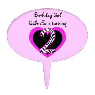 Zebra Pink Black 2nd Birthday Party Cake Topper