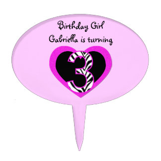 Zebra Pink Black 3rd Birthday Party Cake Topper