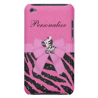 Zebra & Pink & Black Faux Glitter Animal Print Barely There iPod Case