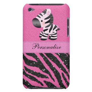 Zebra & Pink & Black Faux Glitter Animal Print Barely There iPod Cover