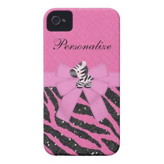Zebra & Pink & Black Faux Glitter Animal Print Case-Mate iPhone 4 Case