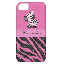 Zebra & Pink & Black Faux Glitter Animal Print Cover For iPhone 5C