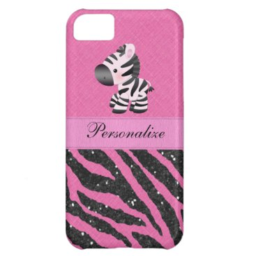 GroovyGraphics Zebra & Pink & Black Faux Glitter Animal Print Cover For iPhone 5C