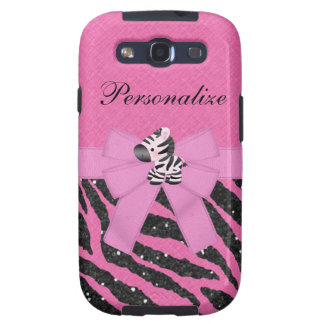 Zebra & Pink & Black Faux Glitter Animal Print Galaxy S3 Cover