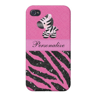 Zebra & Pink & Black Faux Glitter Animal Print iPhone 4/4S Case