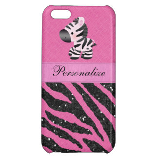 Zebra & Pink & Black Faux Glitter Animal Print iPhone 5C Cases