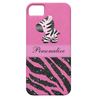 Zebra & Pink & Black Faux Glitter Animal Print iPhone SE/5/5s Case