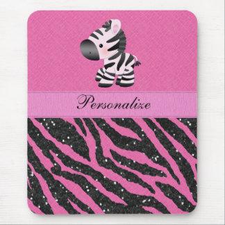Zebra Pink & Black Glitter Animal Print Mousepad