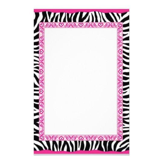 Zebra & pink border stationery