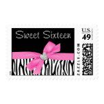 Zebra Pink Bow Diamond Heart Sweet 16 Postage