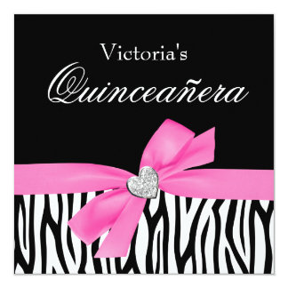 Zebra Pink Bow Diamond Quinceanera Invitations