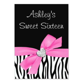 Zebra Pink Bow Diamond Sweet 16 Card