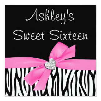 Zebra Pink Bow Diamond Sweet 16 Invitations Personalized Announcement