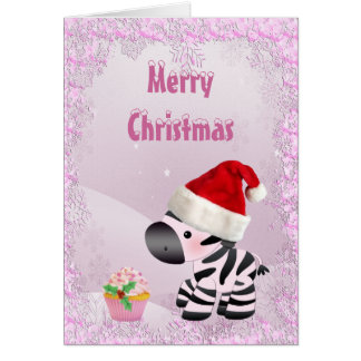 Zebra, Pink Cupcake & Snow Sequins Christmas Card
