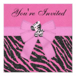 Zebra, Pink Cupcakes & Animal Print Glitter Party 5.25x5.25 Square Paper Invitation Card